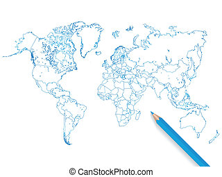 Colored pencil world map illustration