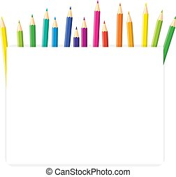 Colored pencils arranged in a row with copy space for note, text, on white background. Rainbow colors Bright print.