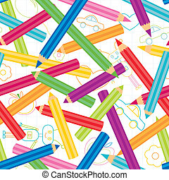 Colored Pencils Background - Childish shapes and colored...