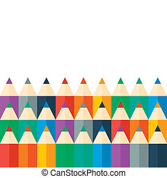 Colored pencils bright colorful set. Vector illustration. Trendy flat style.