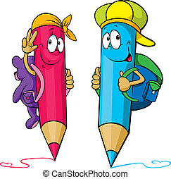 colored pencils cartoon with school bags on their backs...