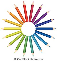 Colored Pencils Color Fan Circle