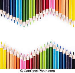 colored pencils - Colored pencils isolated on the white...