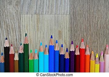 colored pencils composition