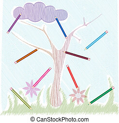 Colored pencils for children - Childish drawing with colored...