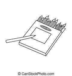 Colored pencils for drawing in box icon in outline style isolated on white background. Artist and drawing symbol stock bitmap, rastr illustration.