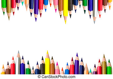 Colored pencils - Horizontal frame of colored pencils...