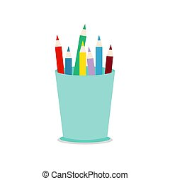 Colored pencils in a glass for office. Flat vector illustration isolated on white background.