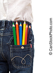 Colored pencils in child back pocket