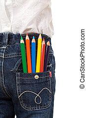Colored pencils in child back pocket