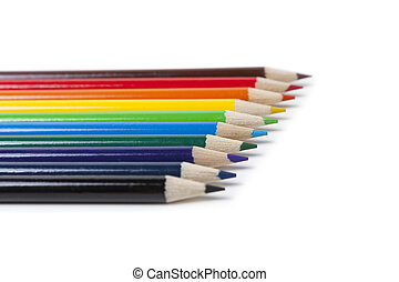 Colored Pencils in order of rainbow on white background