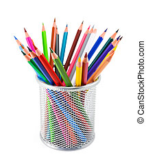 Colored pencils in pot on white background