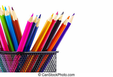 Colored pencils isolated on white background