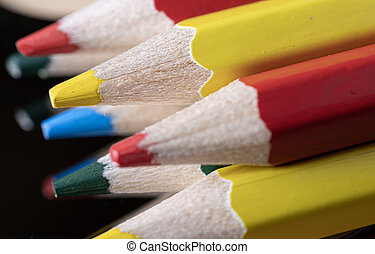 Colored pencils. Macro. Cool shades. A very large pencil lead