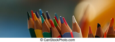 colored pencils many different opinions educational concept