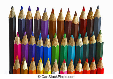 colored pencils on the white background