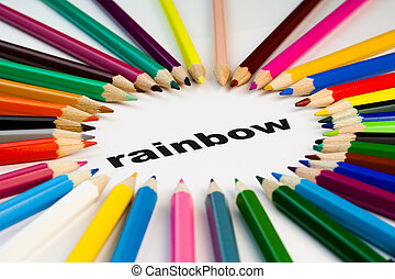 colored pencils on word rainbow