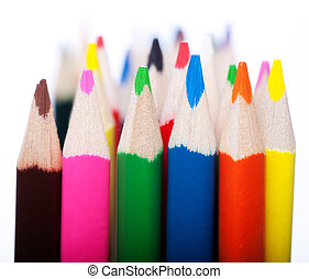 Colored Pencils over white Background