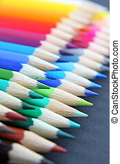 Colored Pencils - Colourful pencils in a row isolated on...