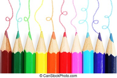Colored pencils set isolated on white background