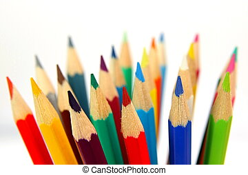 Colored Pencils - Colourful pencils isolated on white...