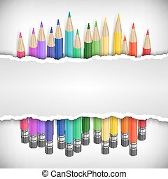 Colored pencils with banner
