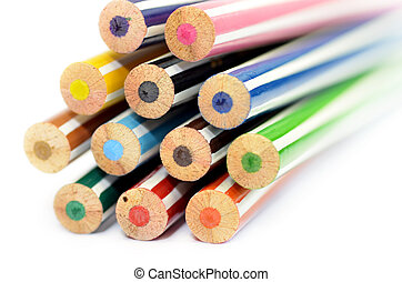 Colored pencils with white background
