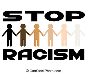 Multi-colored figures of people on a white background. Poster on topic of stop racism