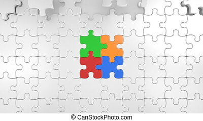 Colored Pieces of Puzzle Falling in the Center. 3d Animation...