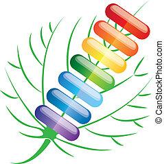 colored pills capsules, vector illu
