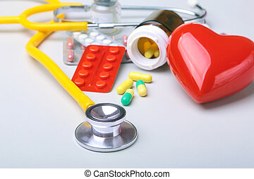 Colored Pills, Tablets, Capsules Blisters, stethoscope and...
