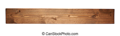 Colored pine wood board plank isolated - Brown paint coated...