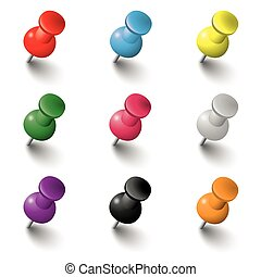 Colored Pins Set - Colored pins on the white background.