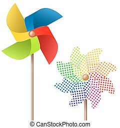 colored pinwheel - summer toy pin wheel with eight different...
