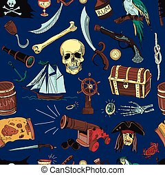colored Pirates pattern. Hand drawn