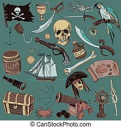colored Pirates set. Hand drawn