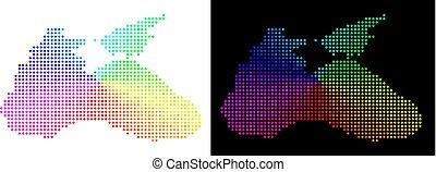 Colored Pixelated Black Sea Map - Spectral dot Black Sea...