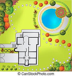 Colored Plan of garden