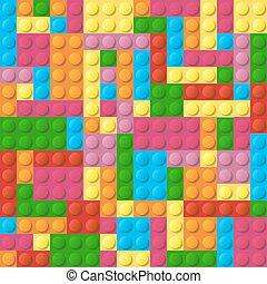 Colored plastic bricks seamless vector pattern