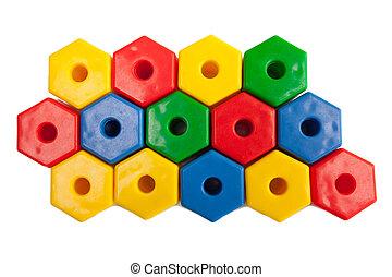Colored plastic hexagons
