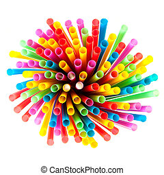 Colored plastic straws - Colored plastic drinking straws on...