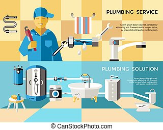 Colored Plumbing Concept Banner Set
