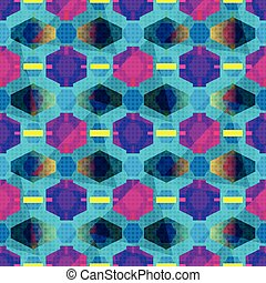 colored polygons on a blue background Geometric seamless pattern