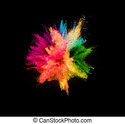 Colored powder explosion on black background - Colored ...