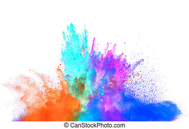 Colored powder on white background