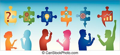 Colored profile people gesturing. Puzzle pieces with problem solving symbols. Business solution. Concept problem solving team. Strategy and success. Client service. Blue background