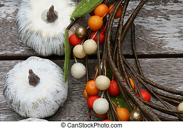 Colored pumpkins for fall background