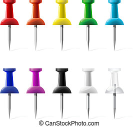 Colored push pins illustration isolated on a white