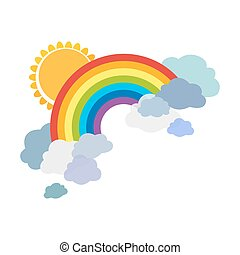 Colored rainbows with clouds and sun. Cartoon illustration isolated on white background. Vector