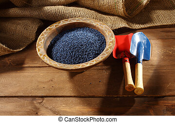 colored rapeseed sowing seed in old bowl